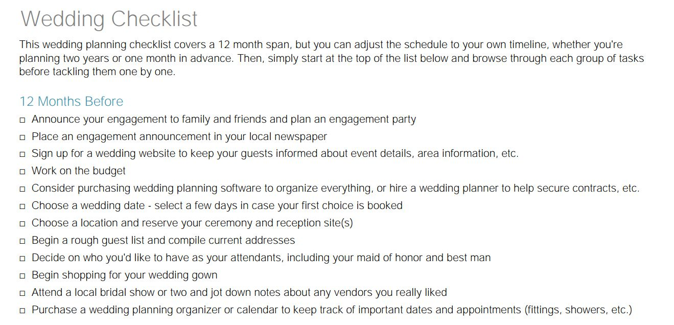 A Little Wedding Guide Checklist