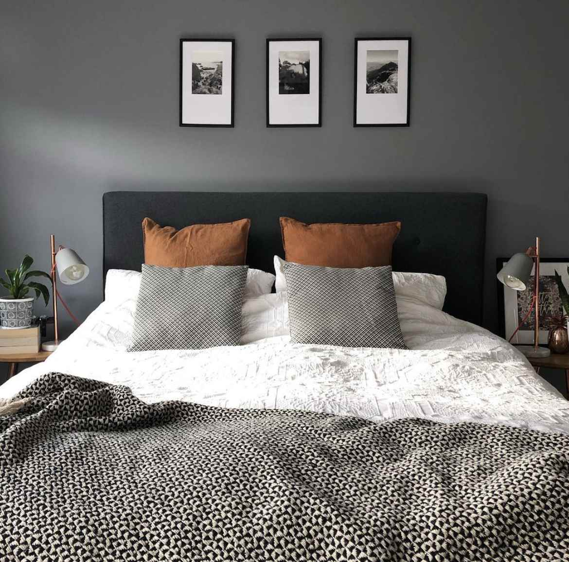 Bedroom with gray paint