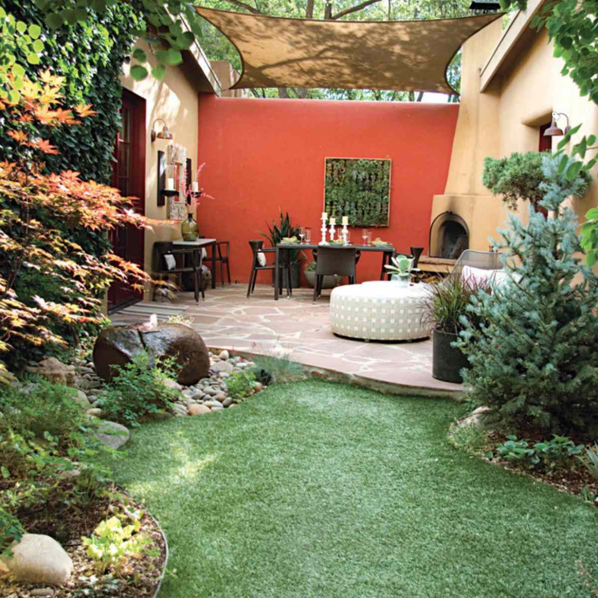 Shade landscape highlighted by outdoor seating area.
