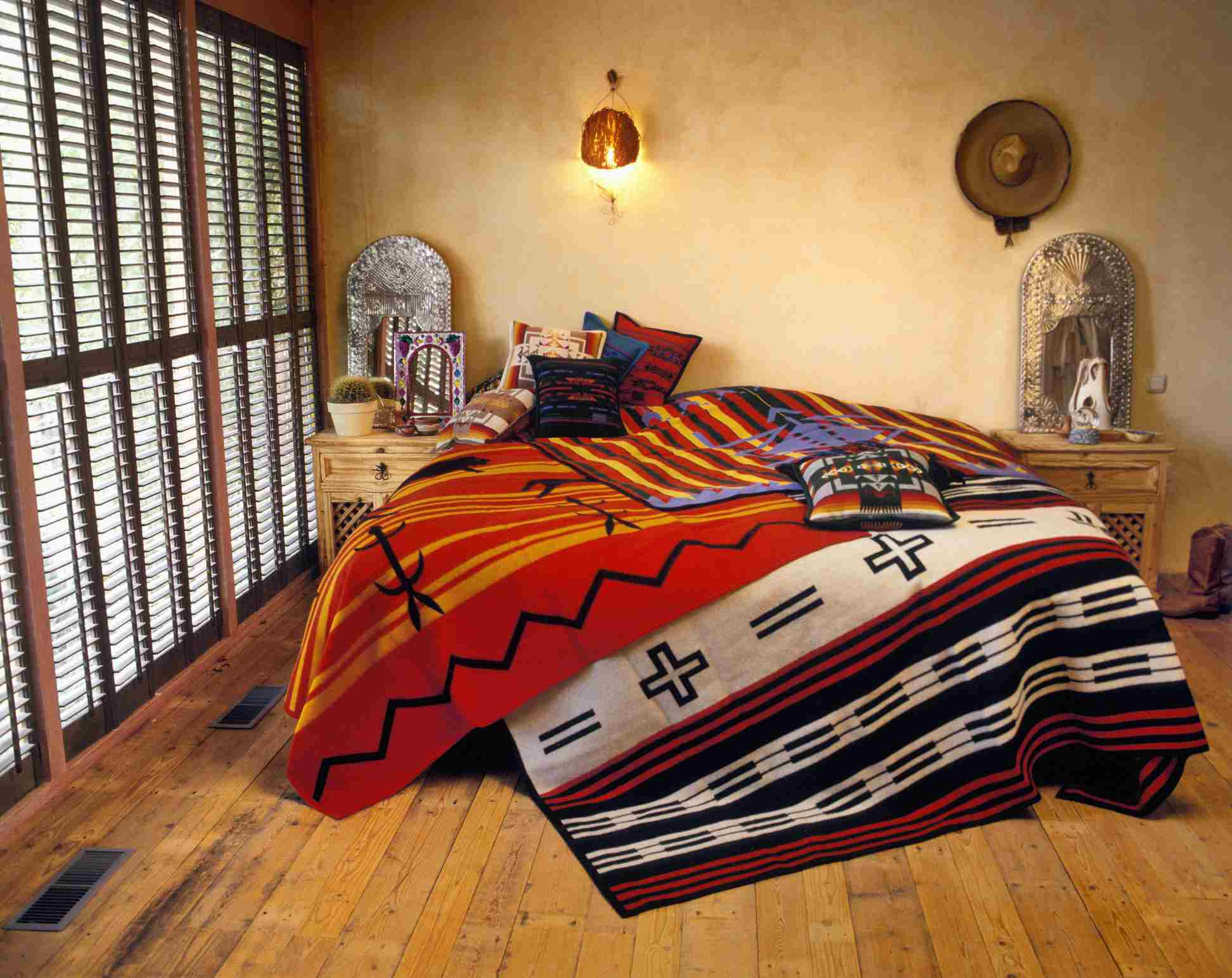Southwestern bedroom with plaster walls