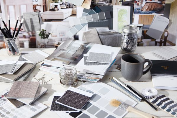 Gray color swatches and decor inspiration