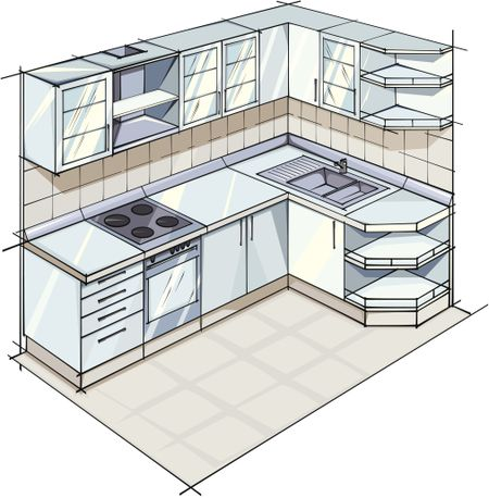 Plan For L Shaped Modern Kitchen