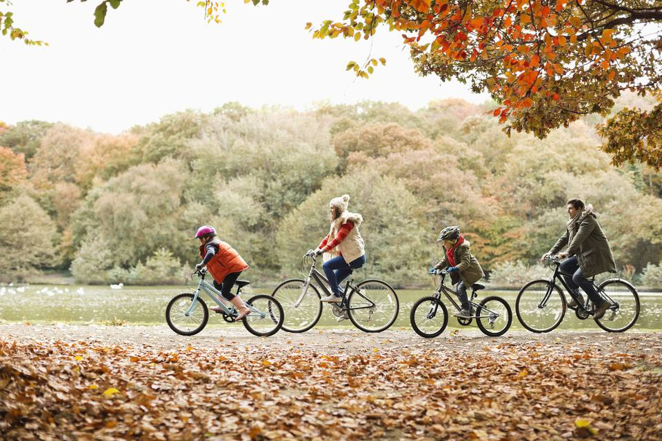 Family riding bicycles together in park