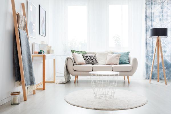 Ladder in bright living room
