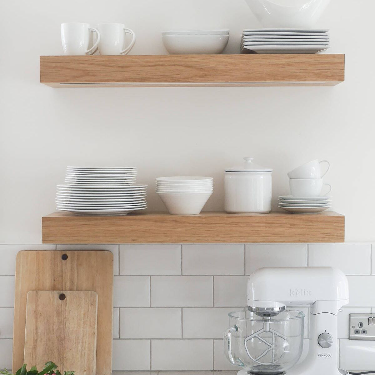 Organized open shelving in a kitchen