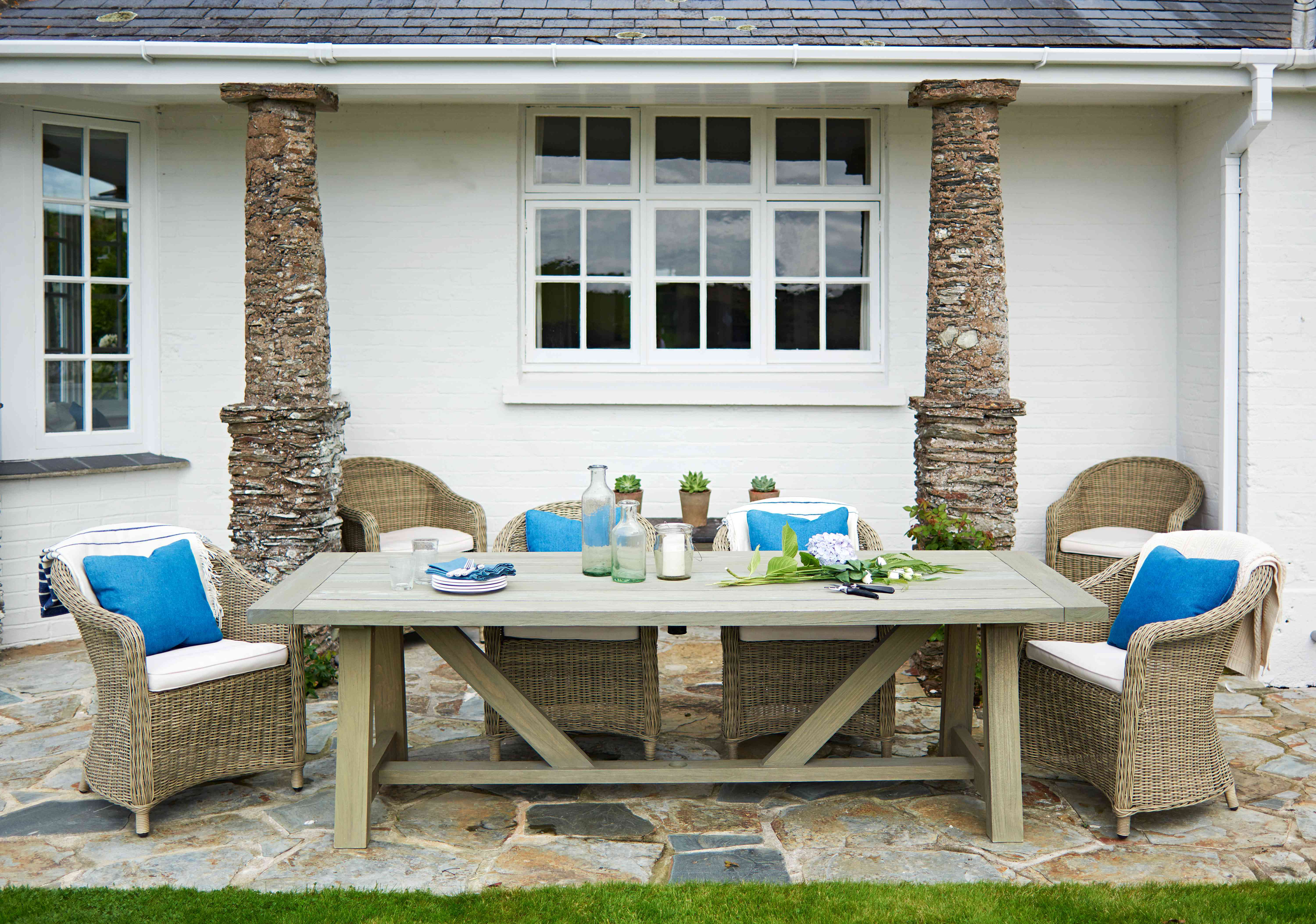 Emma Sims-Hilditch's patio furniture at her Cornwall home