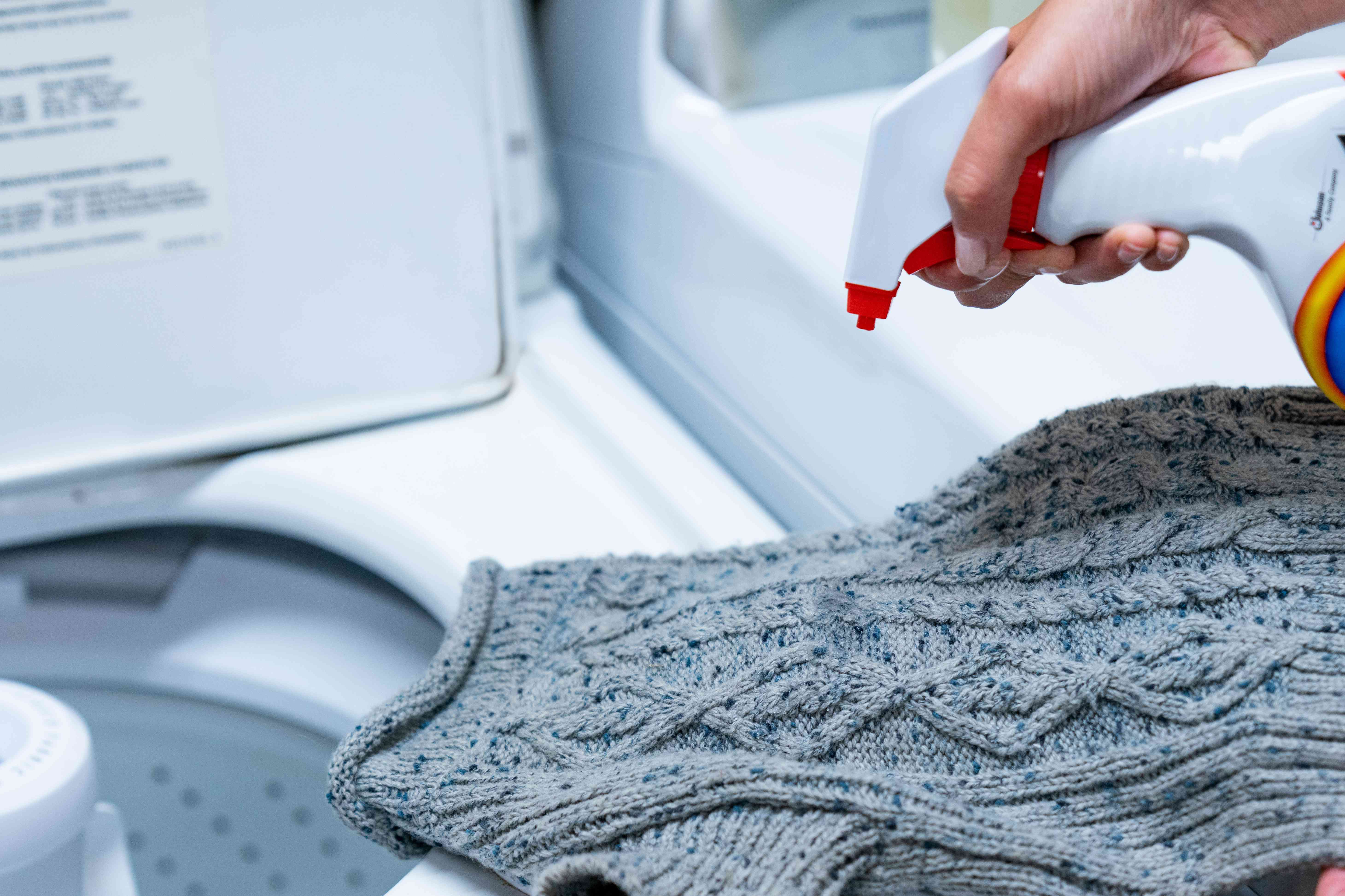 pretreating a stain on a dog sweater
