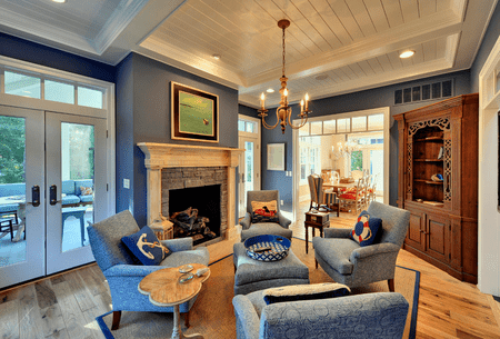 Blue Sitting Room With Custom Details