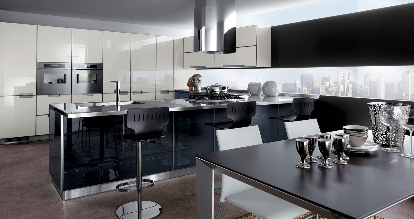 Diseño de cocina ultramoderno de alto contraste de color