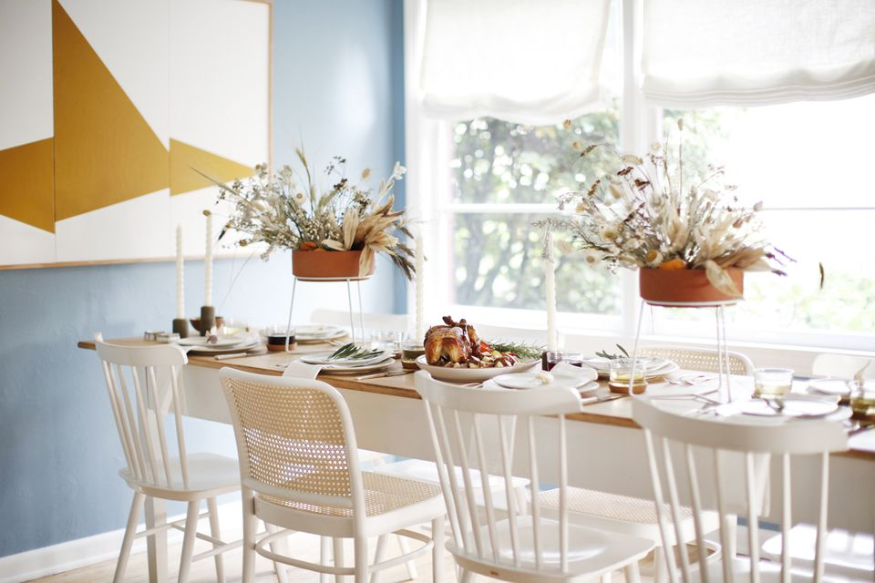 Organic modern farmhouse Thanksgiving table.