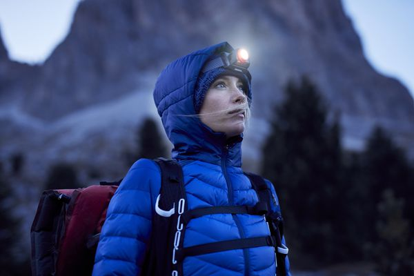 hiker wearing flashlight