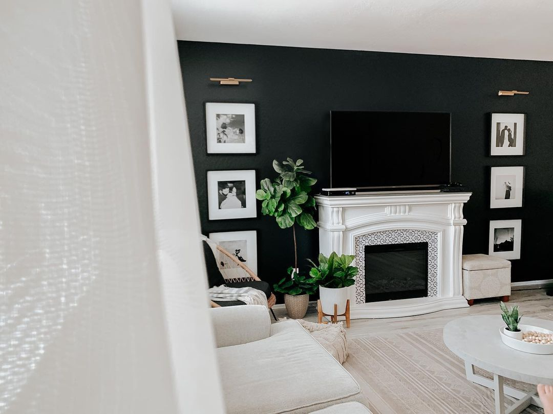 black all behind fireplace
