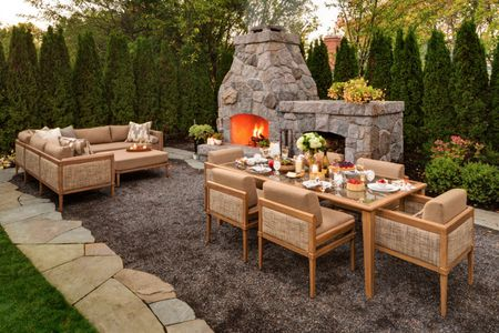Sensational 25 Warm And Cozy Outdoor Fireplace Designs Home Interior And Landscaping Mentranervesignezvosmurscom