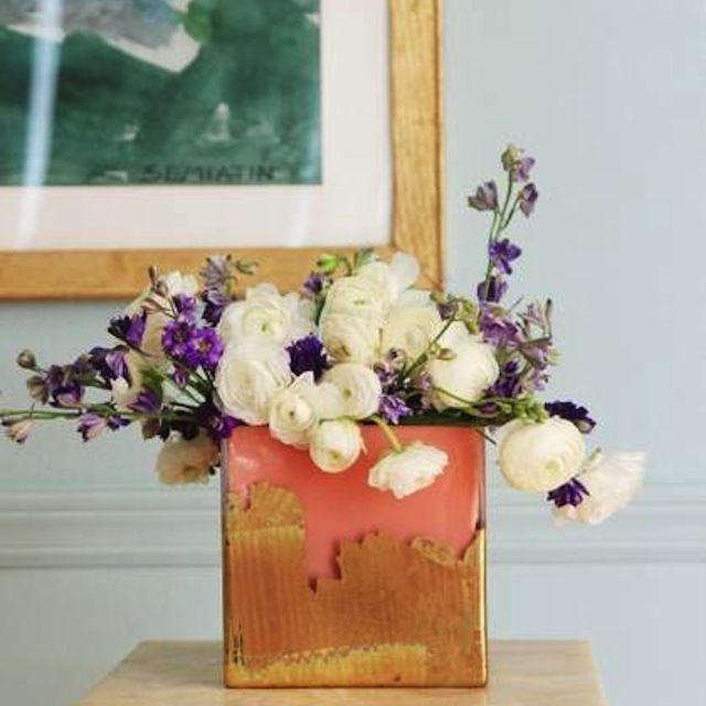 DIY Gold Leaf Brushstroke Vase