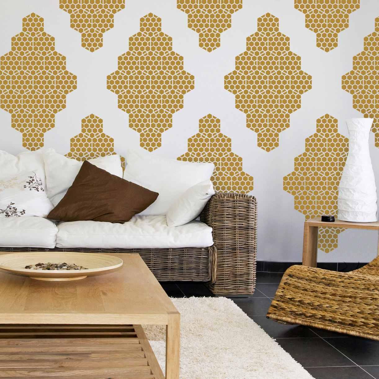 calcomanía de pared de nido de abeja