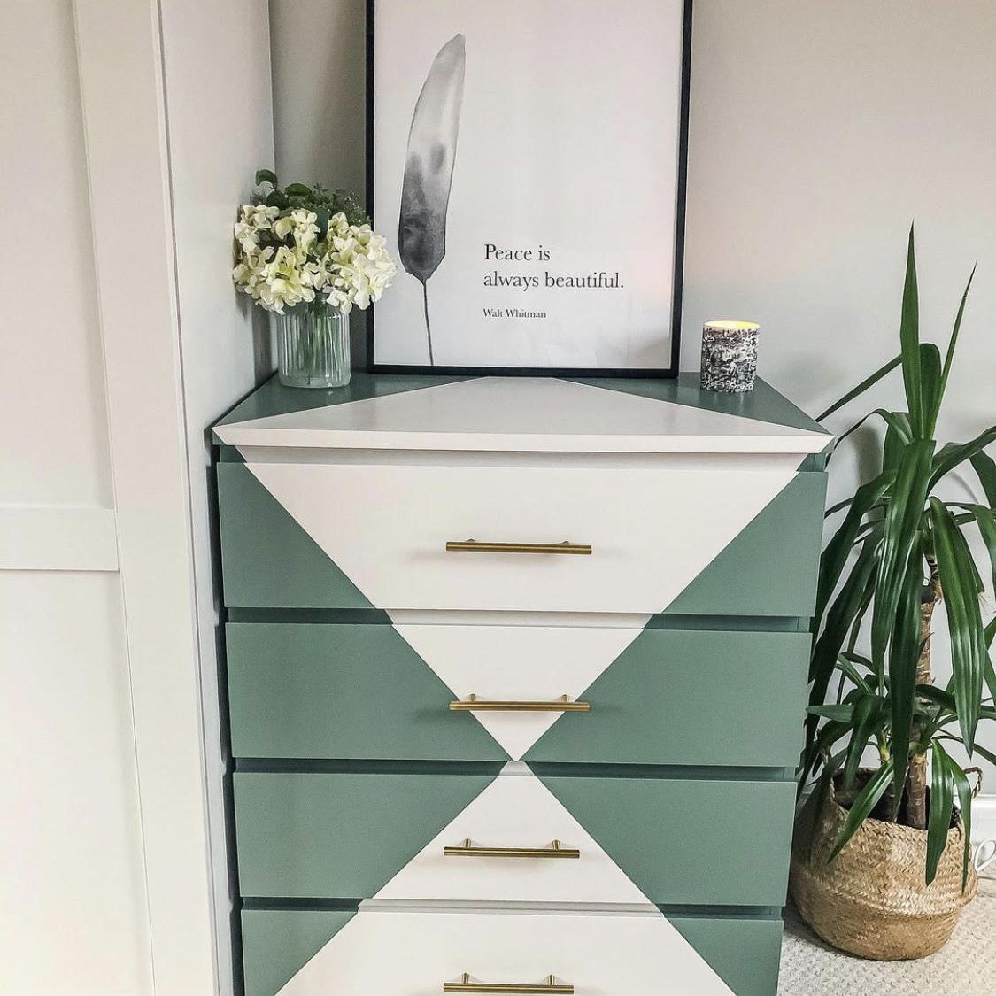 IKEA Malm dresser painted with green triangles