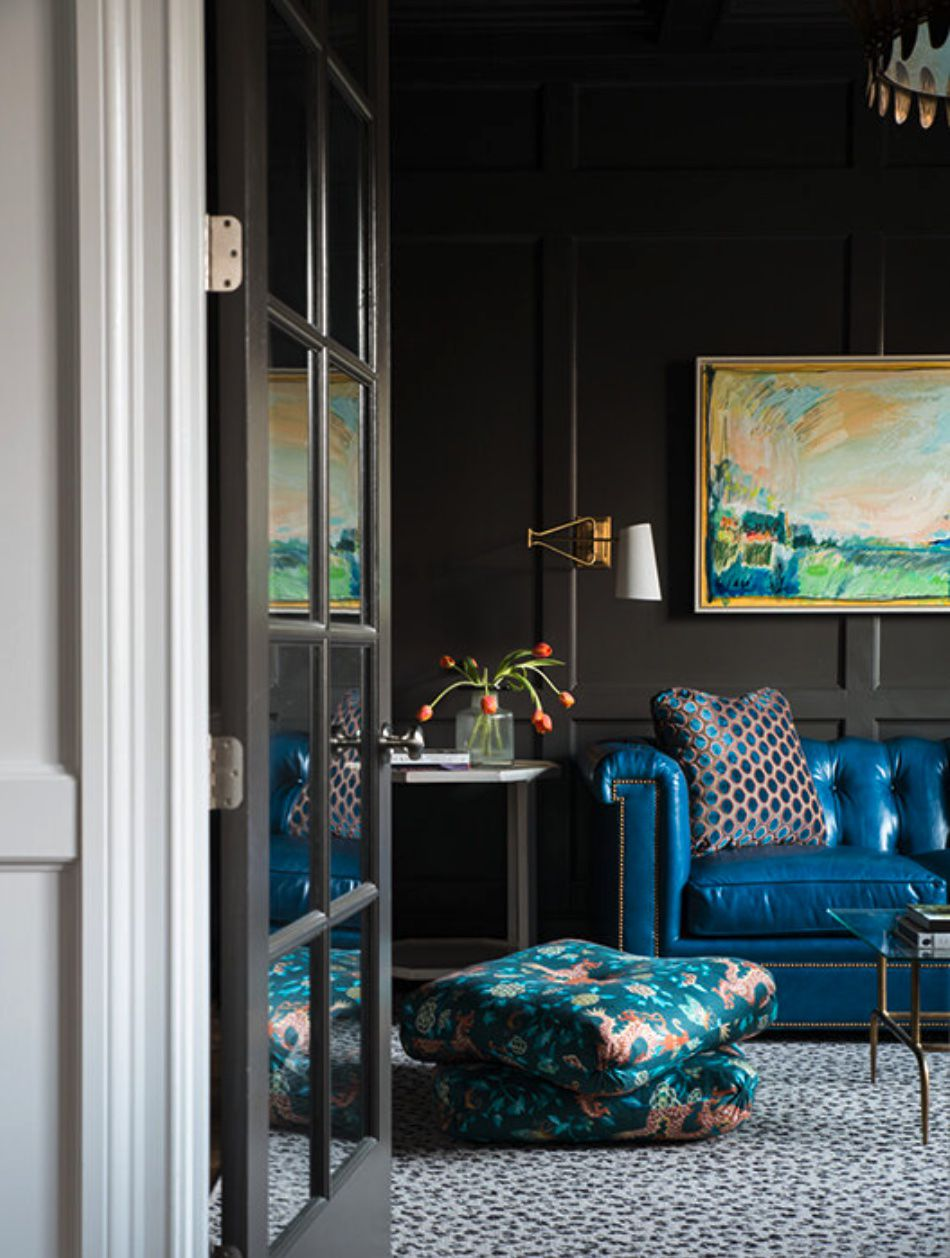 black living room blue features