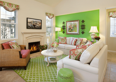 Bright Green Living Room Wall