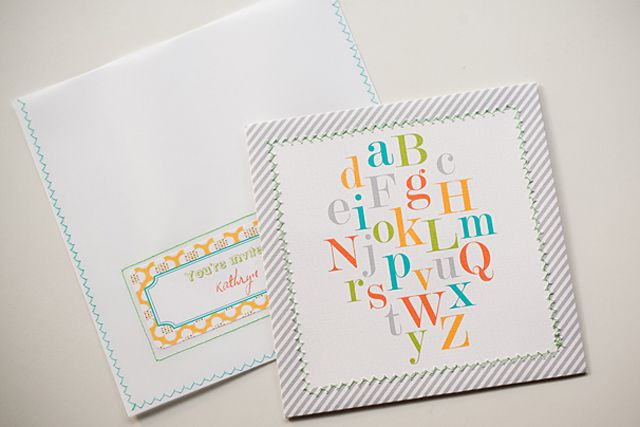 baby shower invitation with colorful alphabet letters