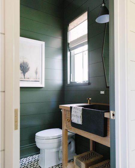 Dark Green Powder Room Bathroom