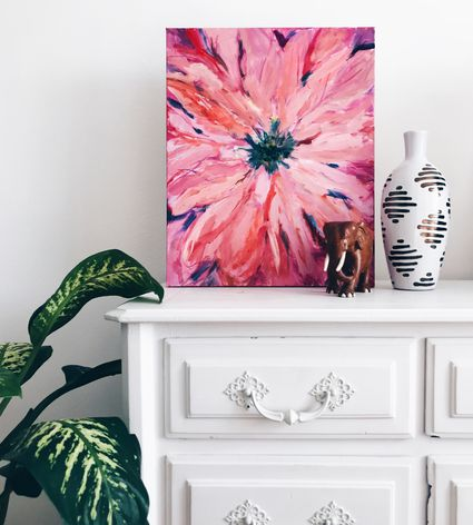 White dresser with flower painting