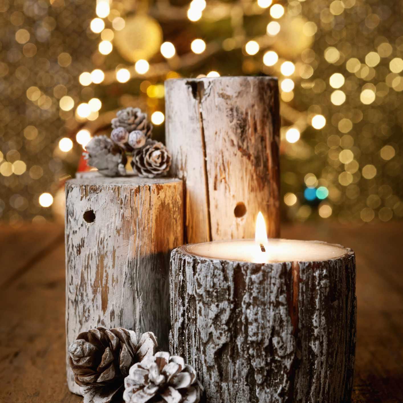 Festive wood candles