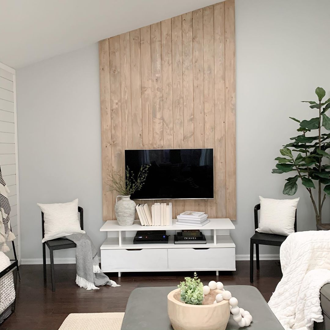 Wood shiplap accent wall
