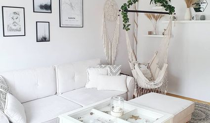 White living room with hammock