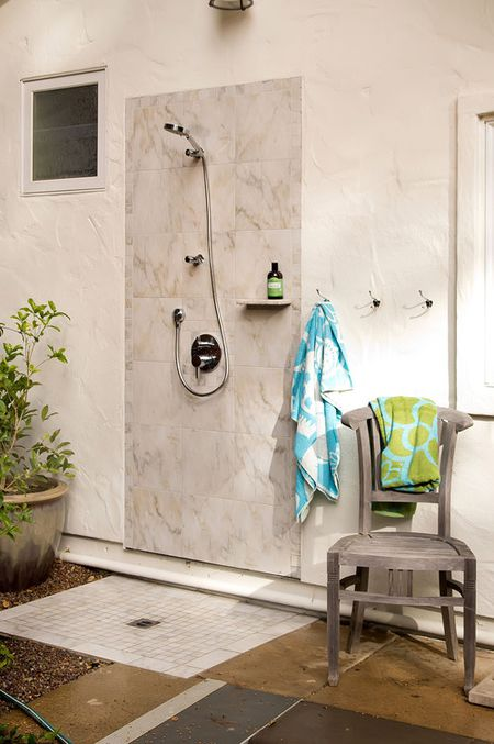 Contemporary Tiled Outdoor Shower