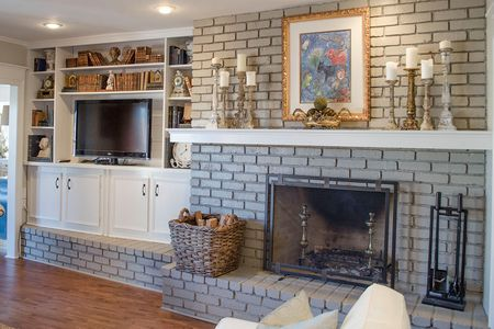 Vintage Inspired Interior Gray Brick Fireplace