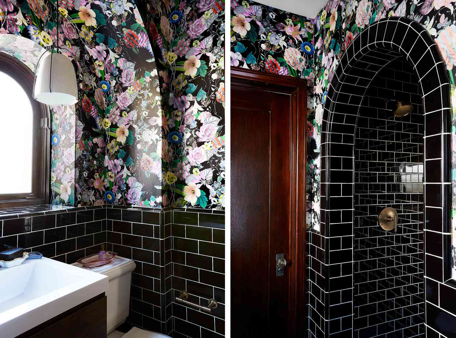 small bathroom with black tie and floral wallpaper