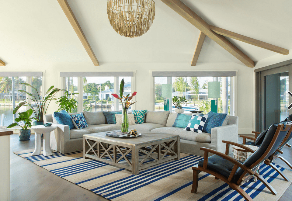 Blue And White Beach House Living Room