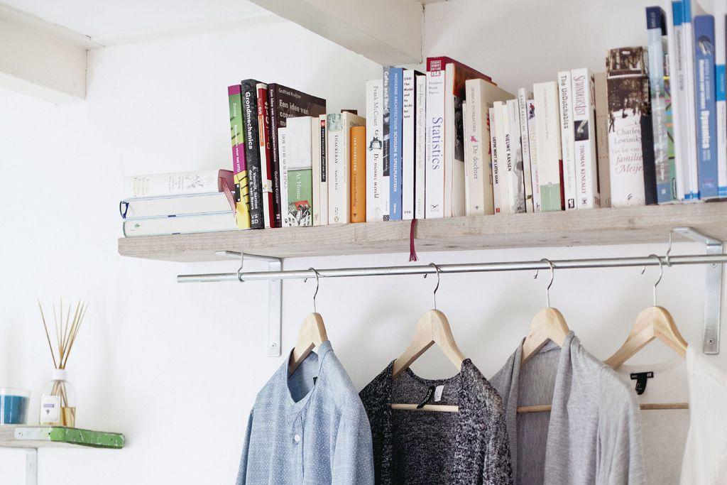 Shelf clothing rack hack for bedroom