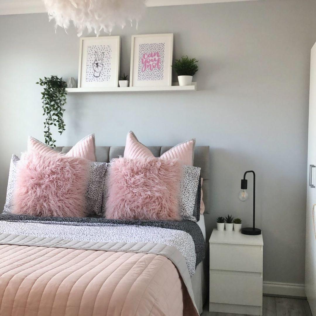 pink pillows gray bedroom