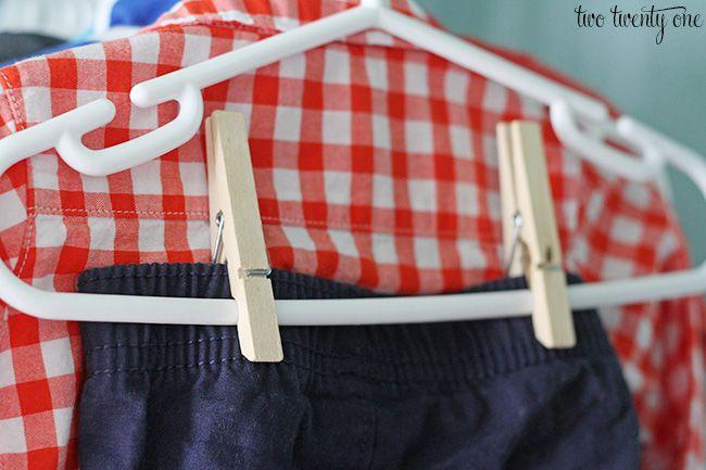 Parenting Hack: Clothes pin clip hangers