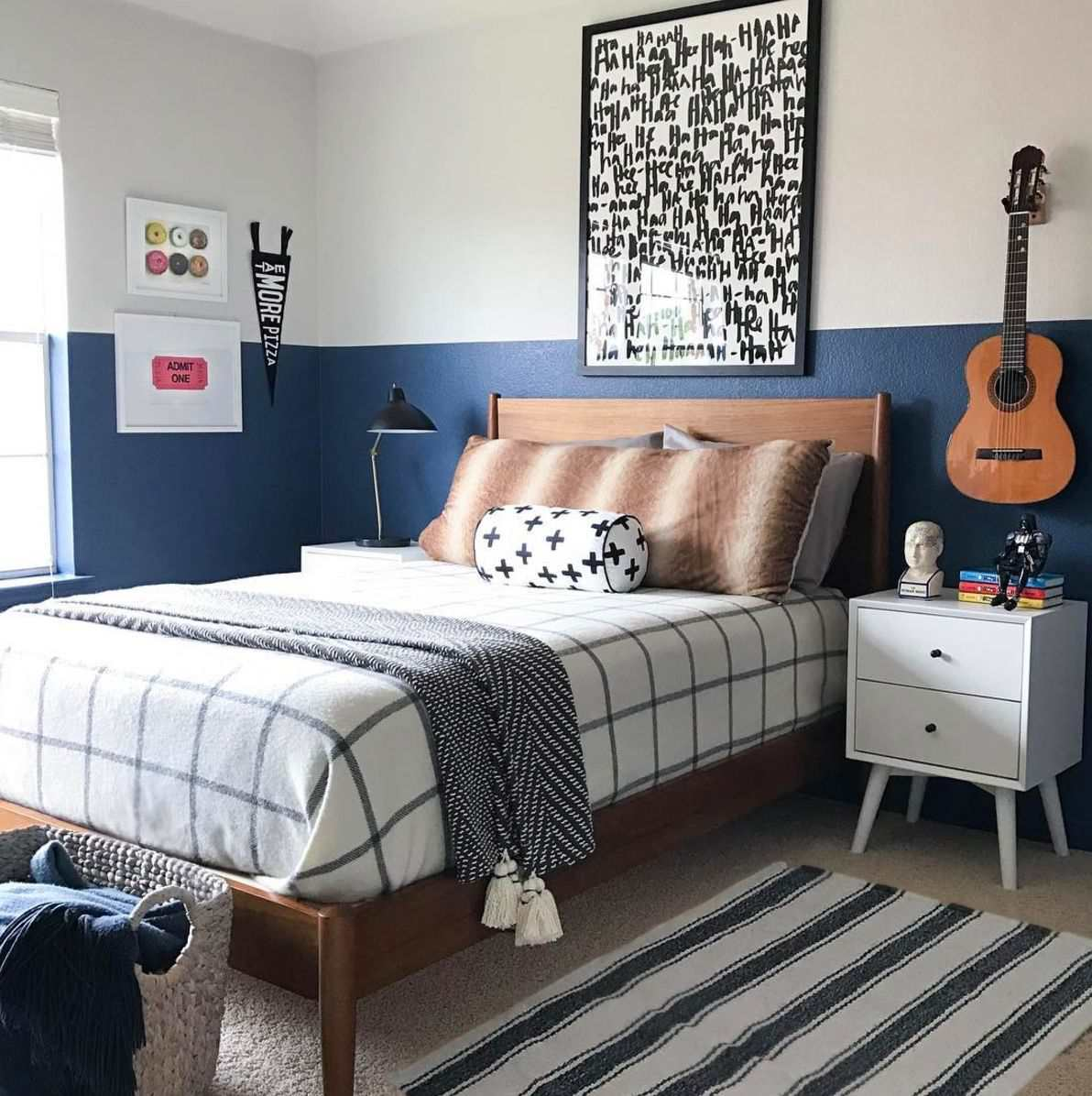Black, white, and navy teen room