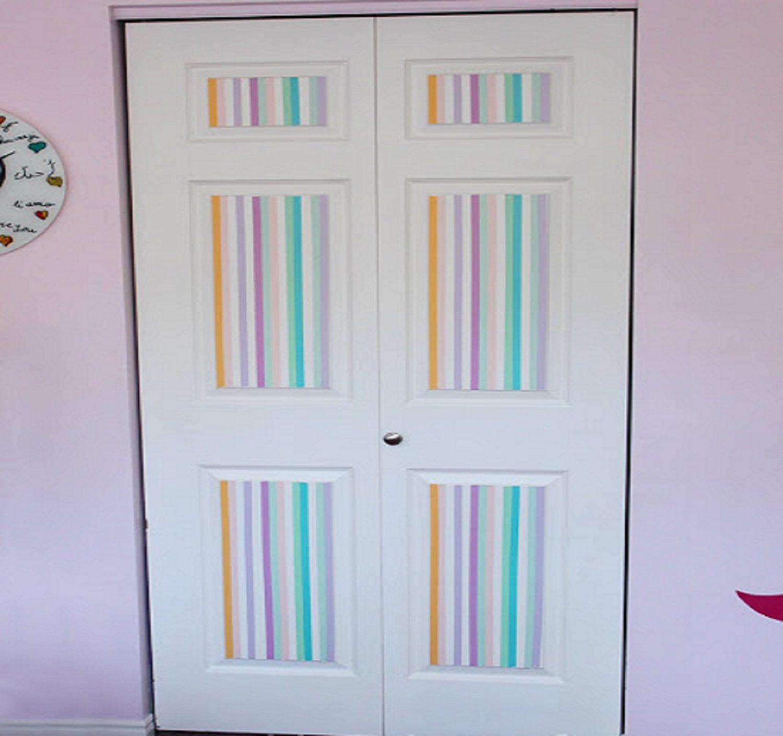 Washi tape on closet door