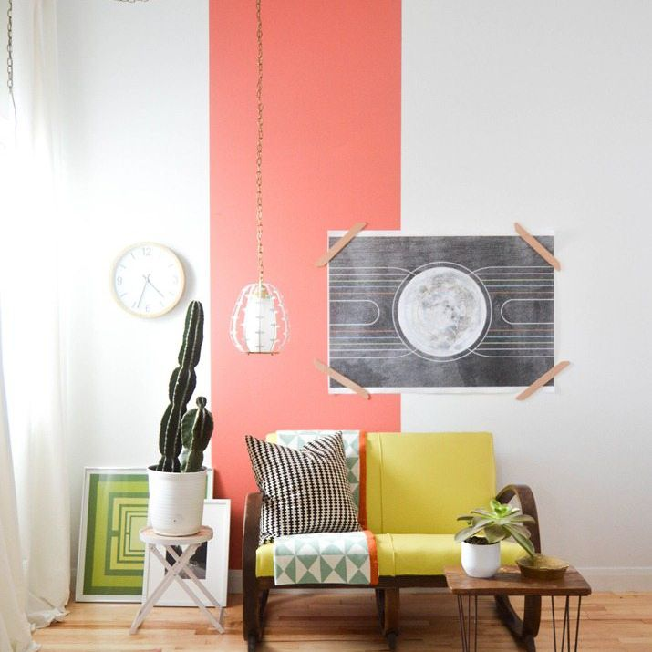 Living room with bright coral paint