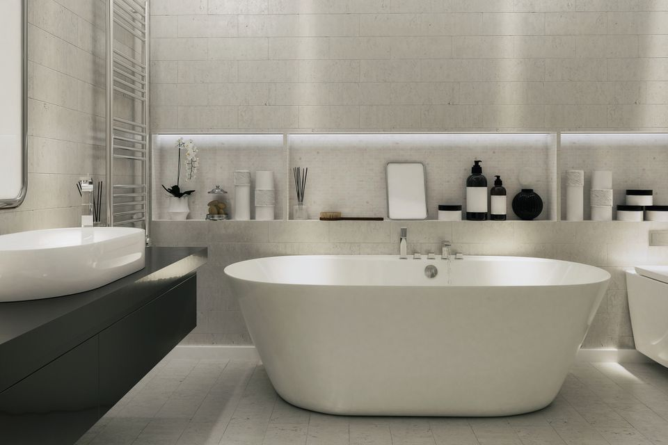 Built in tubs with lights behind bathtub