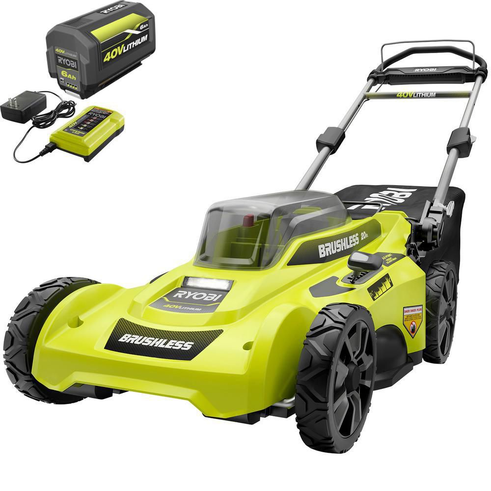 RYOBI 20 in. 40-Volt Brushless Lithium-Ion Cordless Battery Walk Behind Push Lawn Mower 6.0 Ah