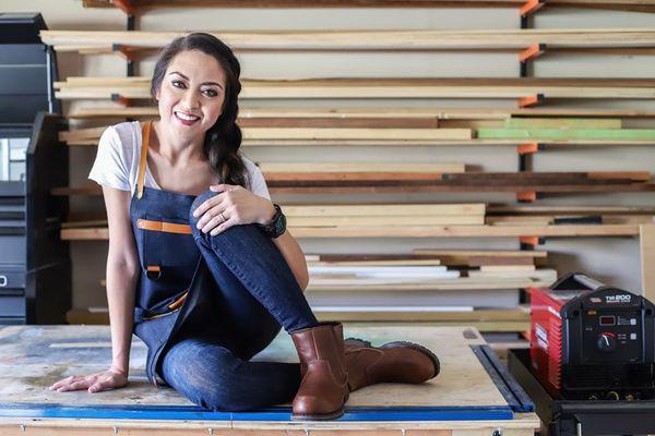 Jen Woodhouse on workbench