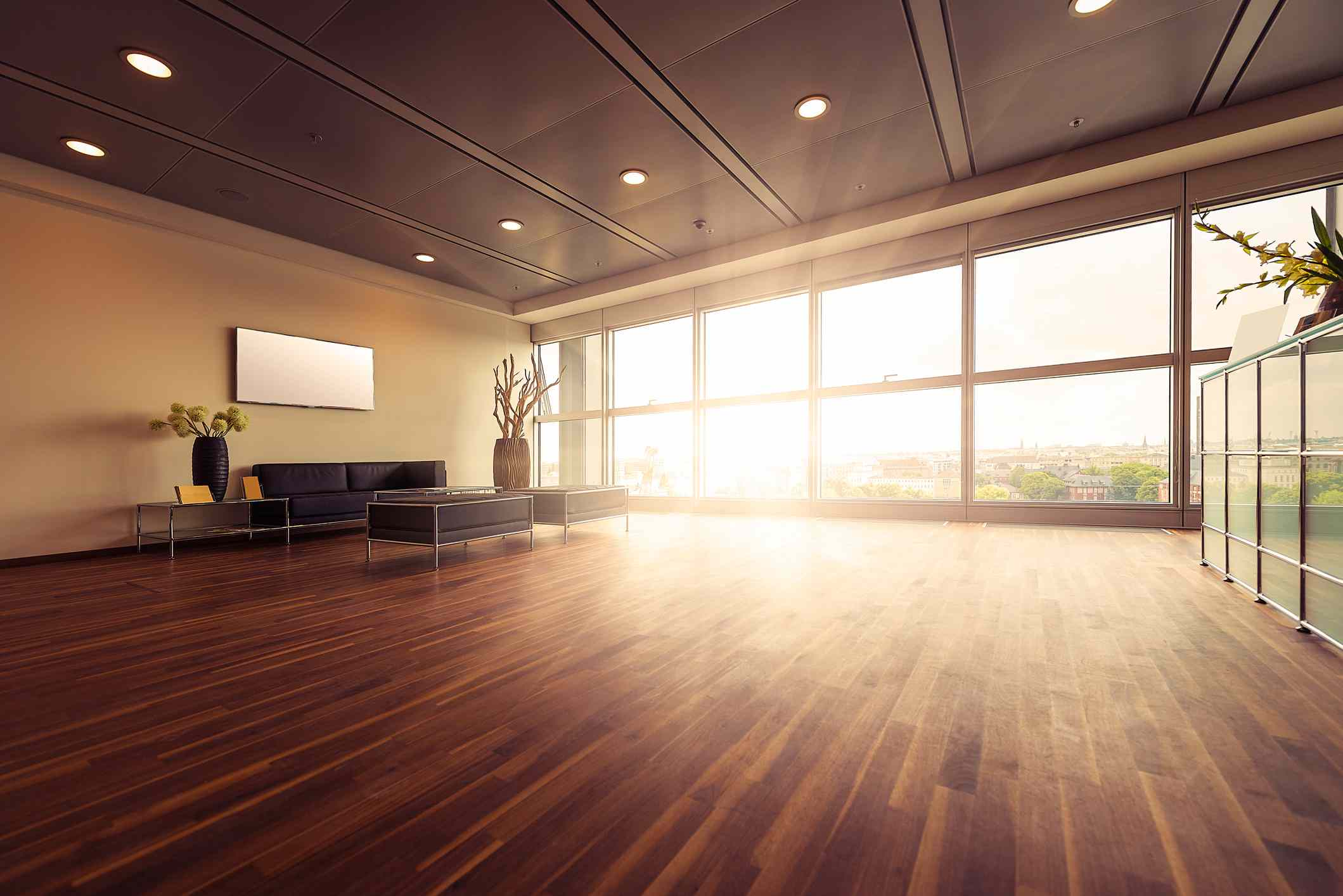 Brown Ceiling and Wood Flooring