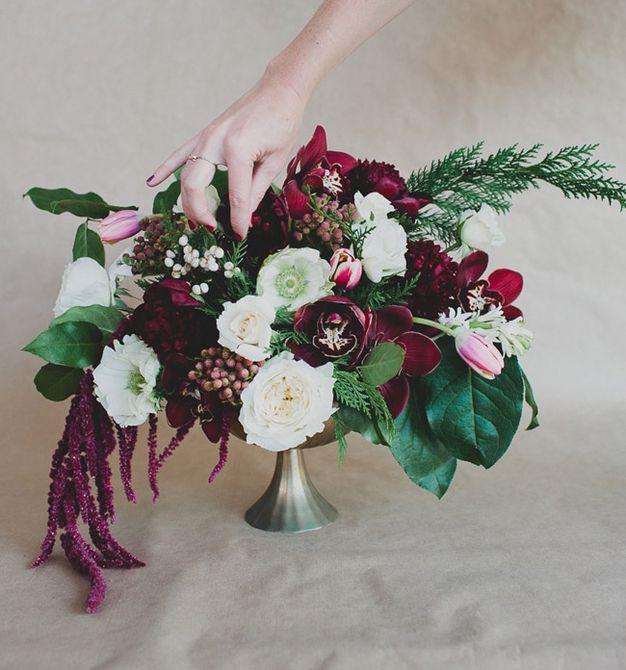 centro de mesa floral de invierno