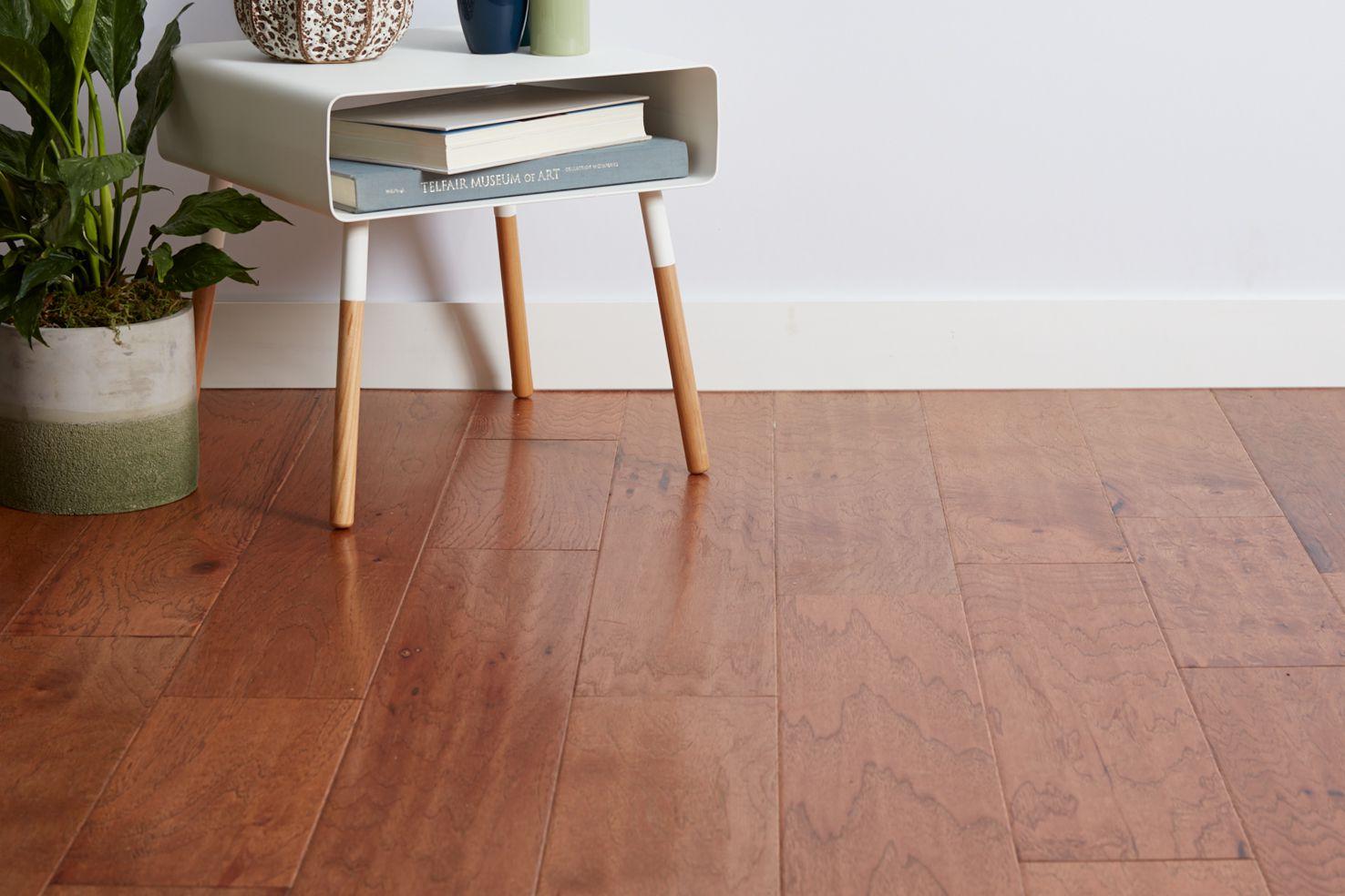 Engineered wood floor with side table