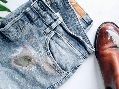 cement stains on clothing and shoes