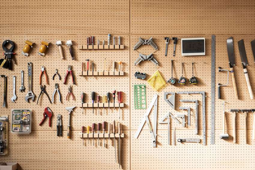Various tools arranged on the wall