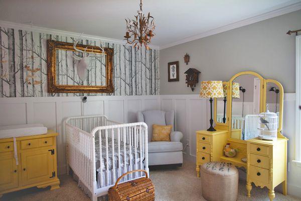 Eclectic grey and yellow woodland fairytale nursery