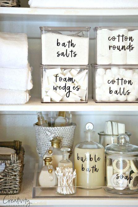etiquetas de organización de baño