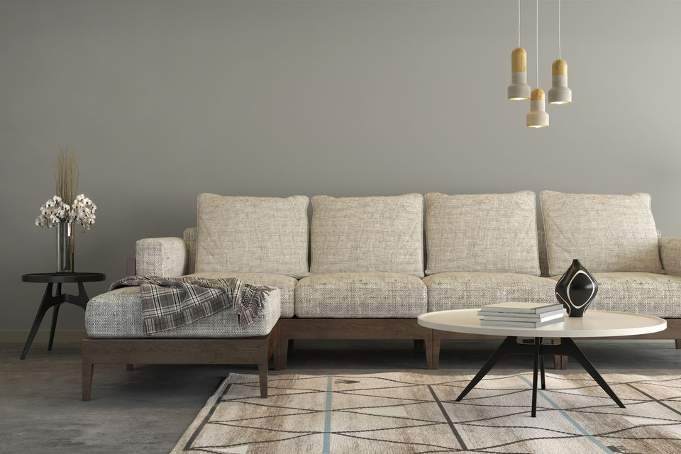 Contemporary Living Room With Patterned Rug