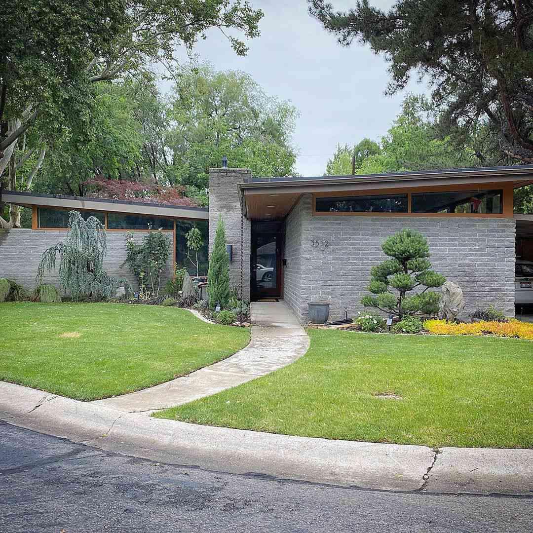 Gray brick mid century home